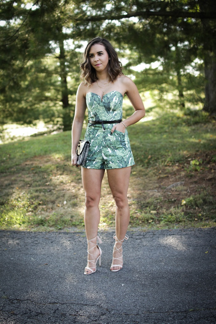 how to wear a romper for a night out. | A.Viza Style | palm print romper. lace up asos heels.