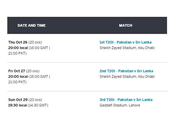 Sri Lanka tour of Pakistan T20 Series Fixture