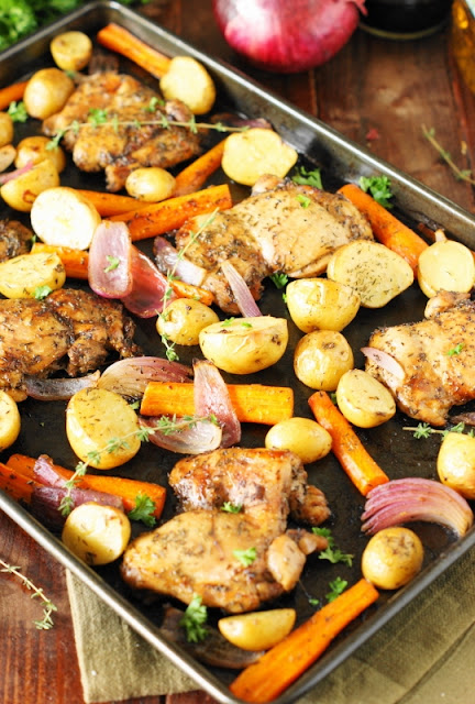 Balsamic Chicken Sheet Pan Supper ~ a delicious oven-roasted sheet pan version of the one pot meal!  www.thekitchenismyplayground.com