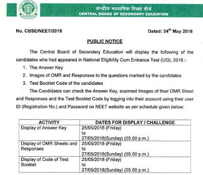 NEET 2018 OMR Answer Sheet Display cbseneet.nic.in