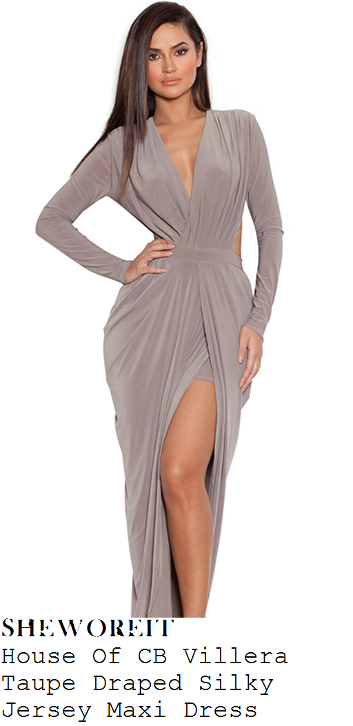 sam-faiers-taupe-long-sleeve-plunge-front-draped-maxi-dress-fragrance-awards