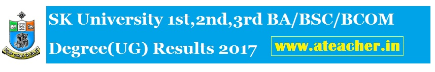 SK University 1st,2nd,3rd Year BA/BSC/BCOM Degree(UG) Results 2017