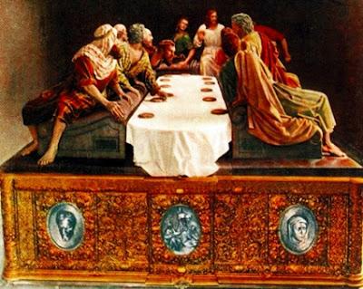 Dibujo que reproduce la disposición original del paso de la Sagrada Cena. León.
