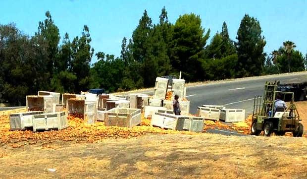 fresno highway 41 semi truck peaches crash friant road