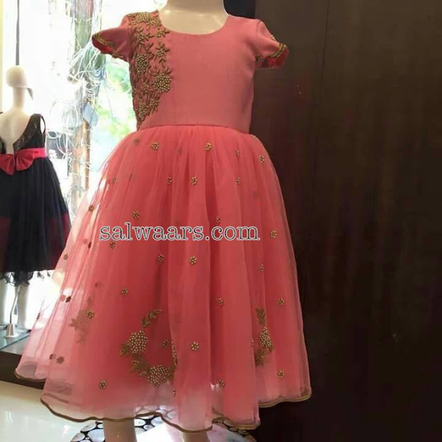 Peach Frock with Zardosi Work