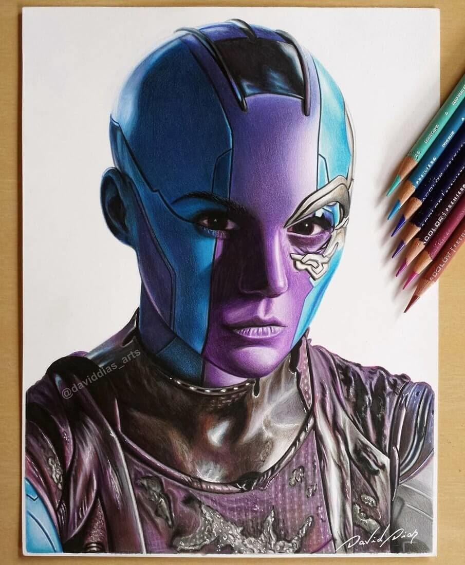 03-Nebula-Guardians-of-the-Galaxy-David-Dias-Drawings-Spanning-Many-different-Subjects-www-designstack-co