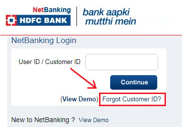 how to get hdfc bank customer id online