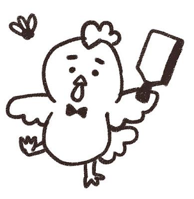 羽つきをするニワトリのイラスト(酉年・白黒線画)
