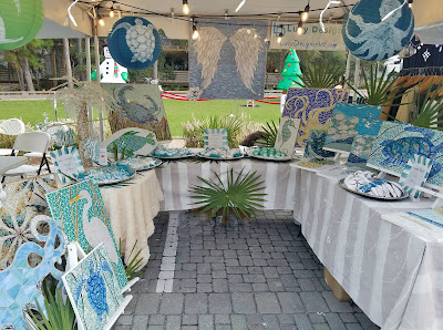 coastal art market, craft booth display, art tent display