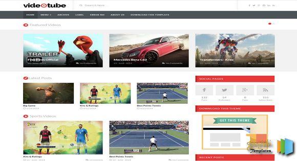 VideoTube Responsive Blogger Template | Free Video Blogger Templates