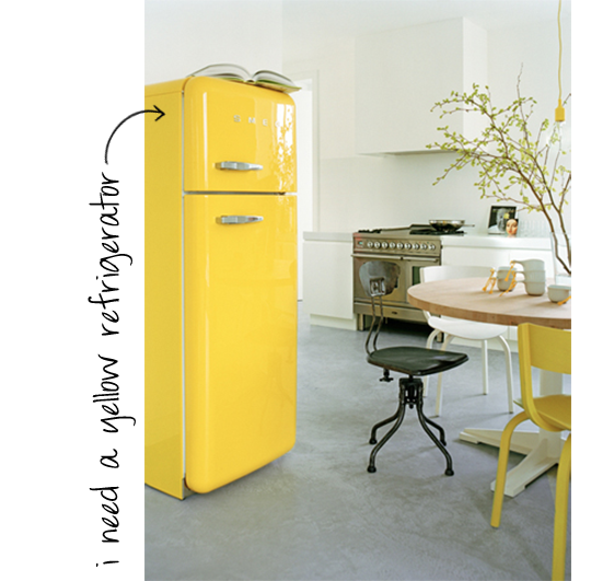 yellow refrigerator