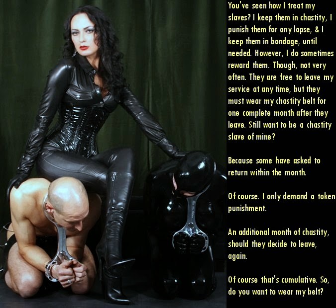 Latex chastity captions