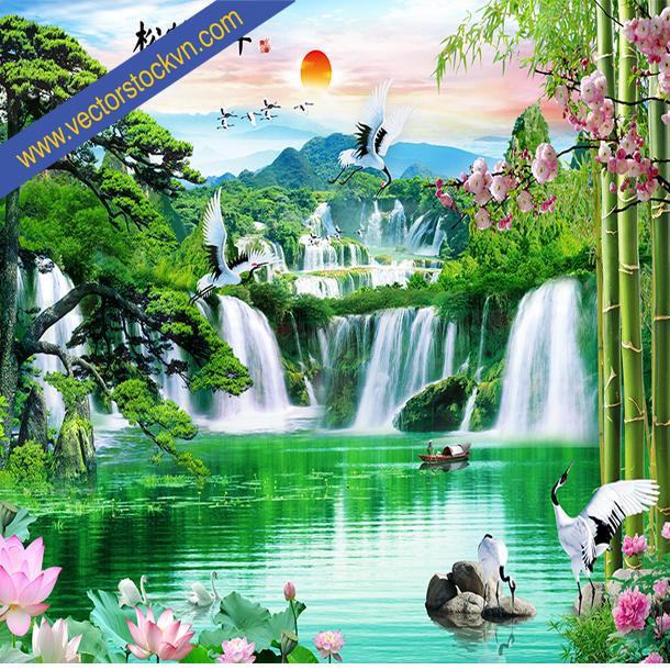 Tranh Dán Tường Sông Suối Cảnh Đẹp Thiên Nhiên.