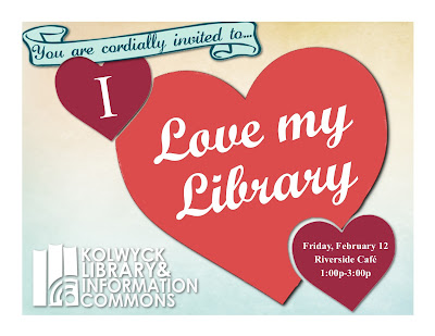 Red hearts, advertising I Love My Library Event Feb 12 1:00p-3:00p