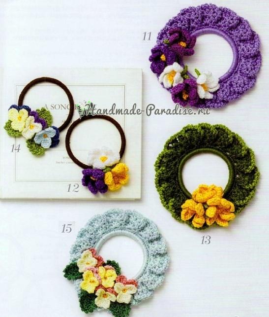 Схемы вязания резиночек с цветами (2)
