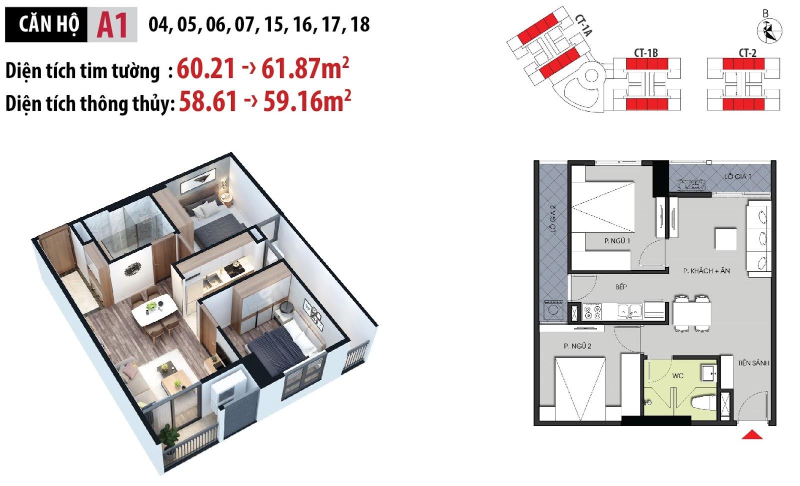Mặt bằng chi tiết căn hộ 15 - 16 - 17 - 18 dự án Hateco Apollo Xuân Phương