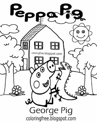 Schools and playgroup drawing designs George Pig sweet Peppa pig printables simple coloring pictures
