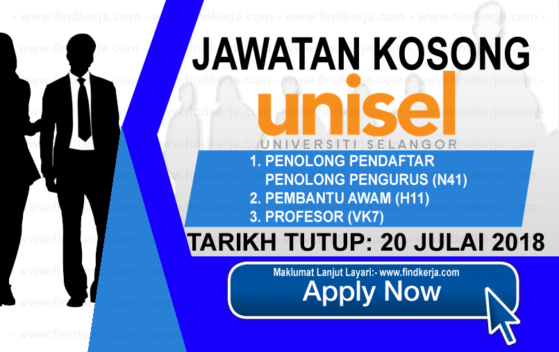 Jawatan Kerja Kosong UNISEL- Universiti Selangor logo www.ohjob.info www.findkerja.com julai 2018