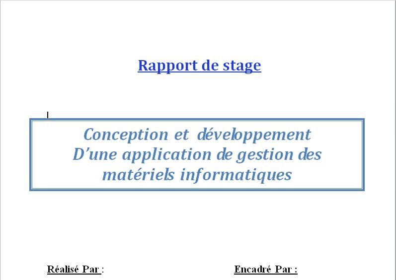 Projet De Stage De Fin D Année Conception Et Dévéloppement