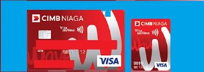 Design kartu kredit wave n go plastik dan stiker cimb niaga
