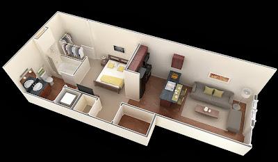Departamentos peque os planos y dise o en 3d construye for Diseno de apartamentos para estudiantes