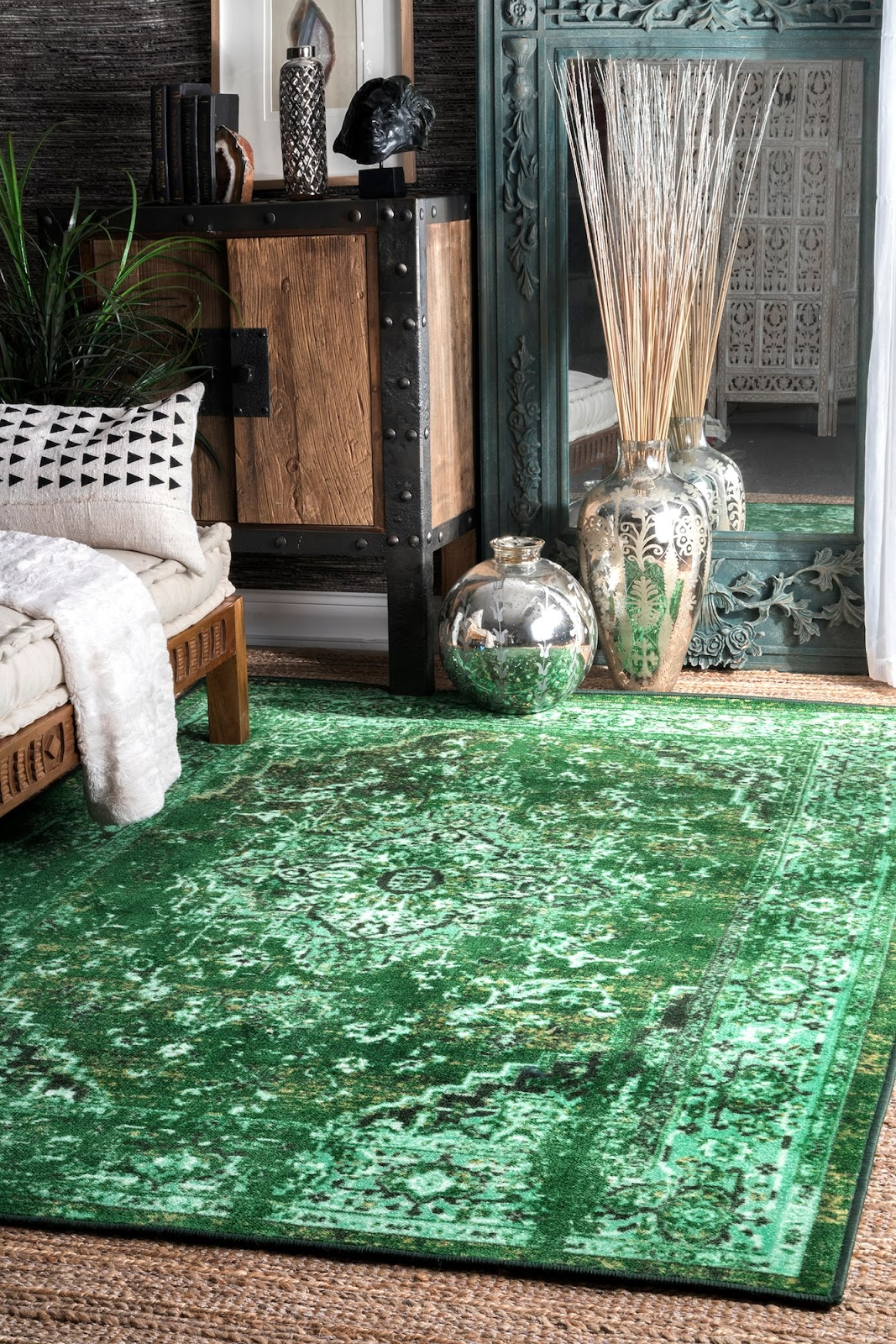 vintage style overdyed green area rug in living room