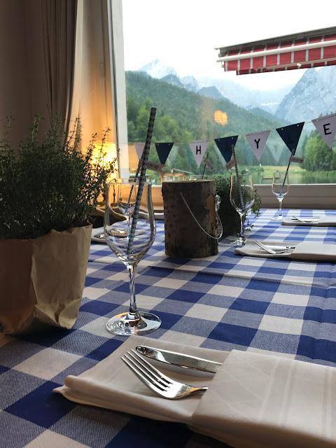 Mountain view Bavarian BBQ dinner, Wedding abroad, Mountain wedding lake-side at the Riessersee Hotel Resort Bavaria, Germany, Garmisch-Partenkirchen