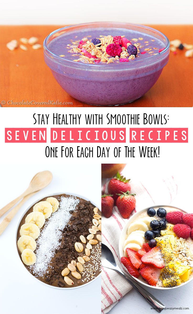 Start your day out on the right foot, each day of the week, with this collection of SEVEN smoothie bowl recipes that will rock your world and your taste buds!