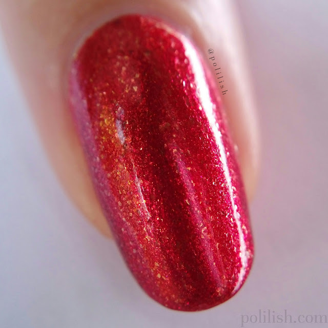 Macro swatch of A-England 'Gloriana' - 2 coats with top coat