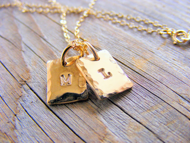 gold tag letter initials charm necklace