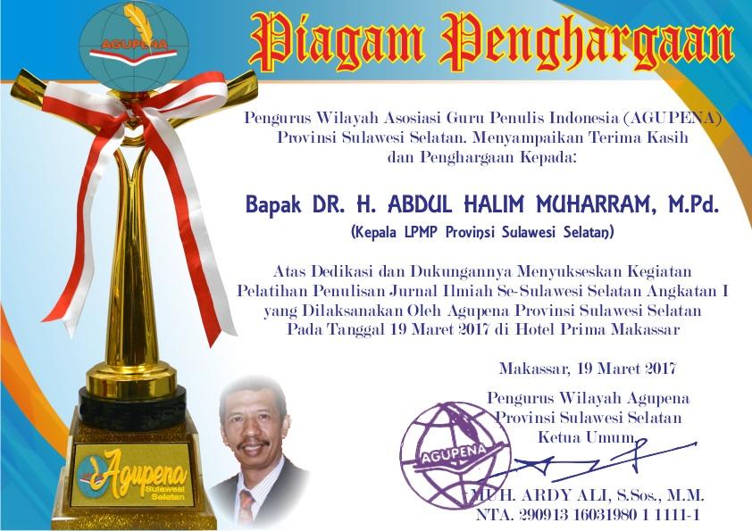 Penghargaan untuk Kepala LPMP SulSel