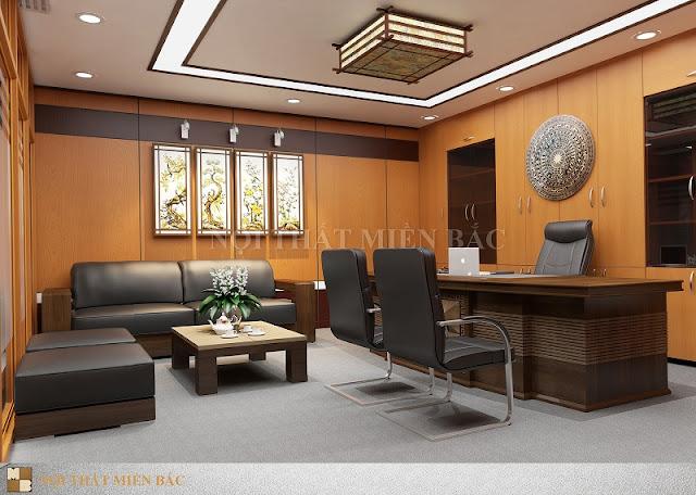 Thiết kế nội thất phòng giám đốc ấn tượng với phong cách lịch lãm, từ chiếc bàn giám đốc hiện đại đến mặt chiếc trống đồng đều toát lên đẳng cấp khác biệt của người lãnh đạo