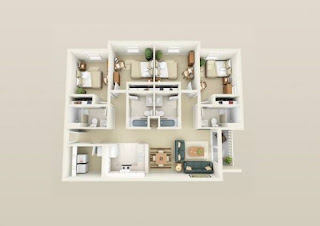 pelan rumah 1 tingkat 4 bilik