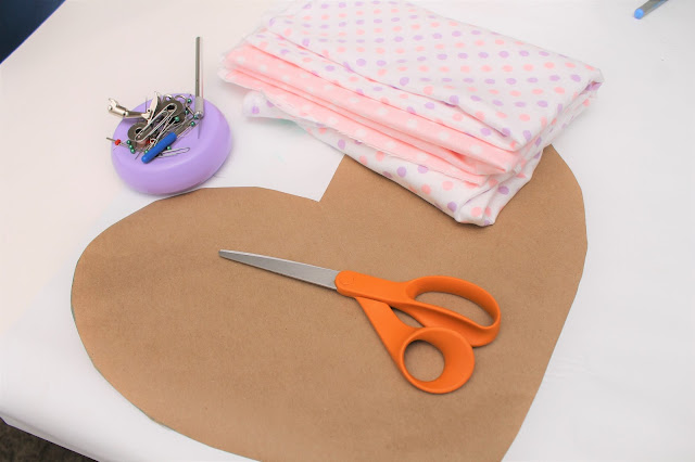 Heart paper pattern with sewing supplies