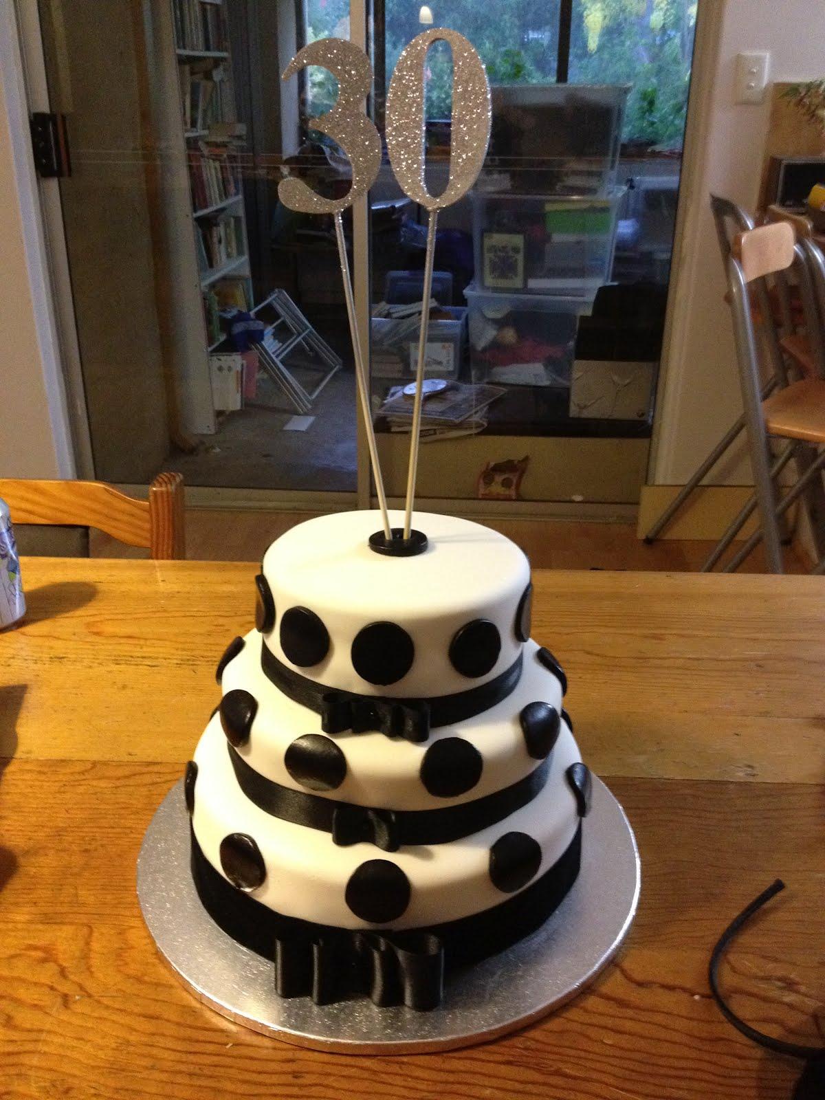 Lucys Black And White 30th Birthday Chocolate Mud Cake