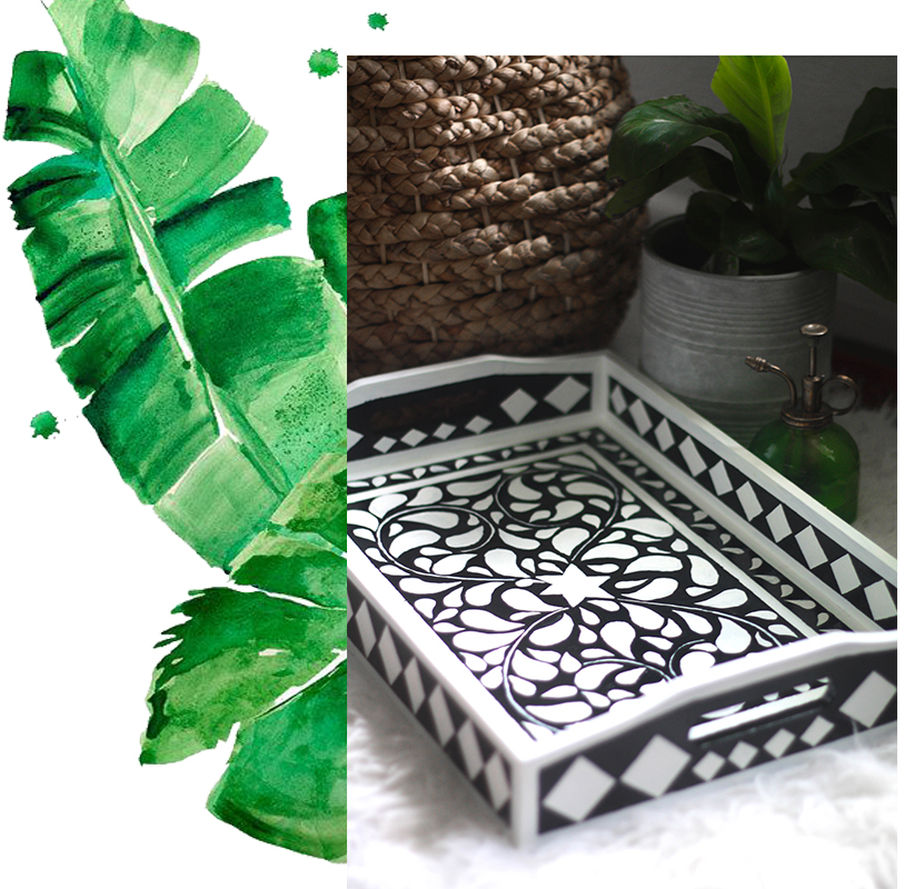 Beautiful DIY faux bone inlay tray
