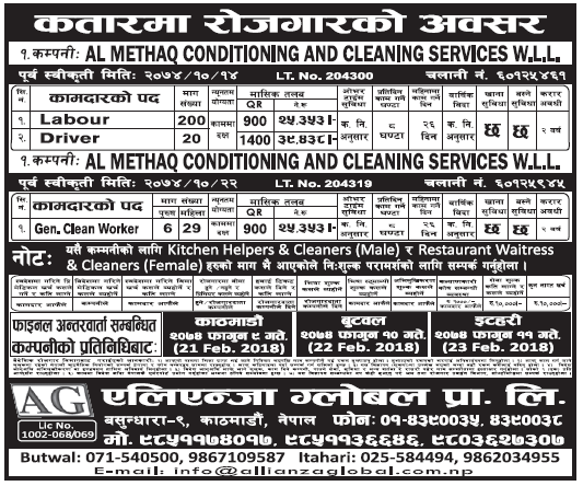 Jobs in Qatar for Nepali, Salary Rs 39,438