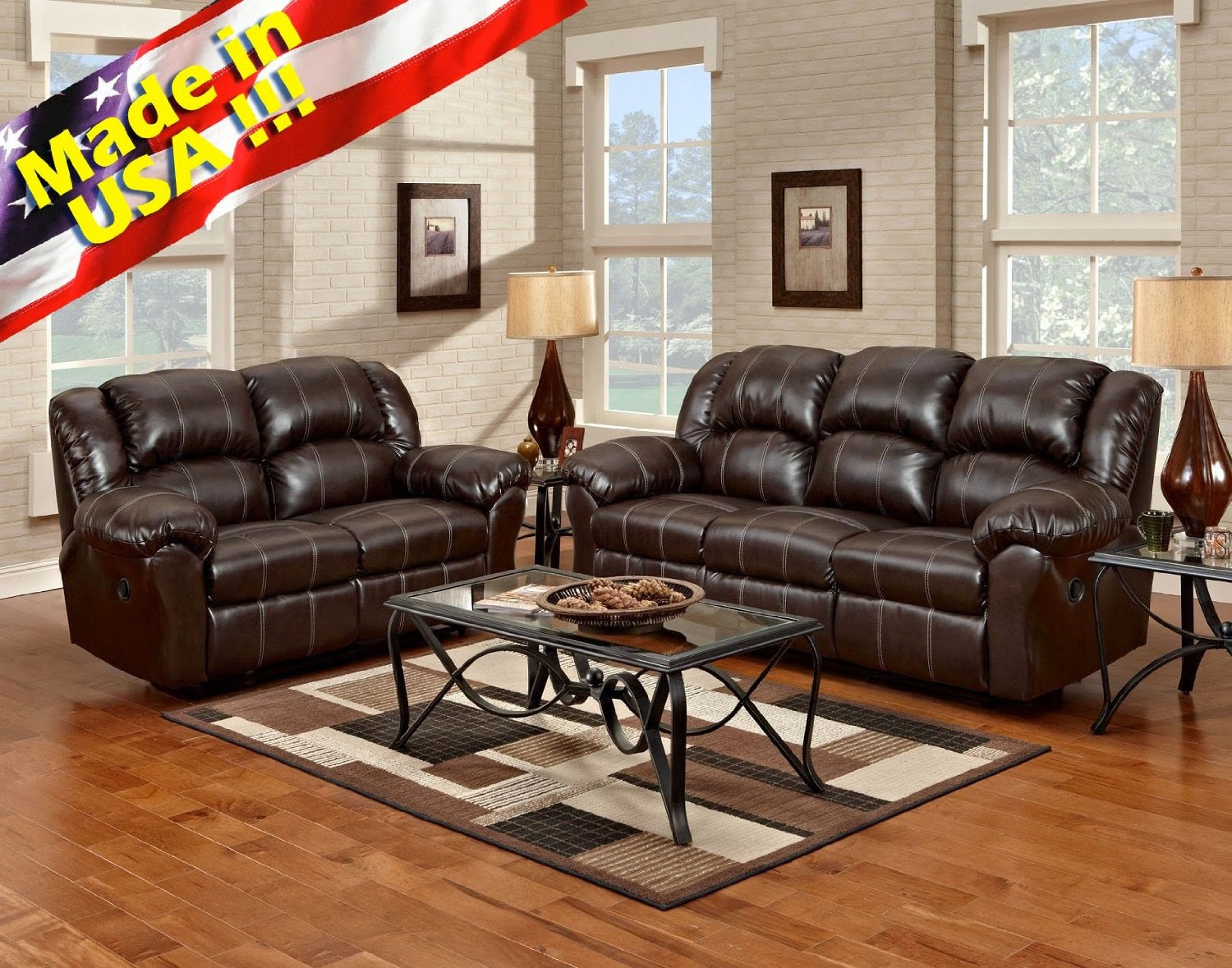Bryce white italian leather sofa and loveseat 15814565 overstock -  Roundhill Leather Dual Reclining Sofa And Loveseat