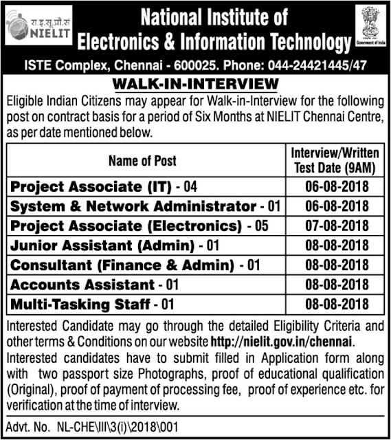 NIELIT Chennai Center Walk-in-Interview 2018