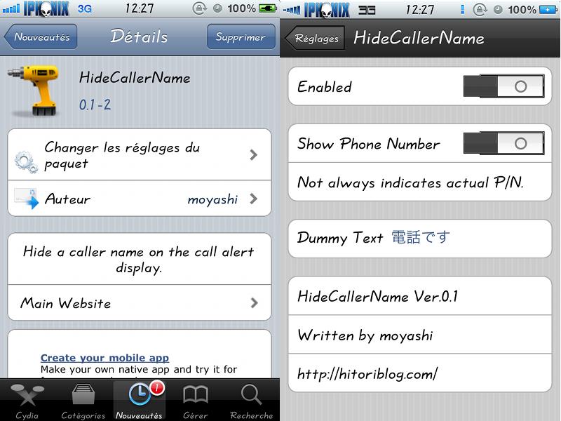 New Cydia Tweak: HideCallerName App for iPhone Hide All