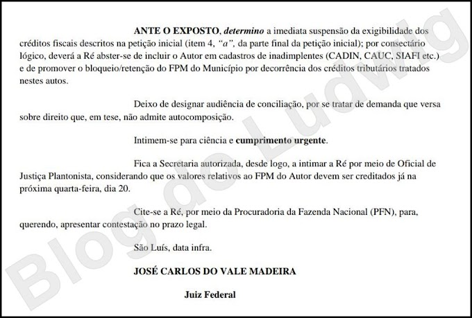 """""""LIBERADO"""": Justiça Federal determinou desbloqueio do FPM em Caxias"""