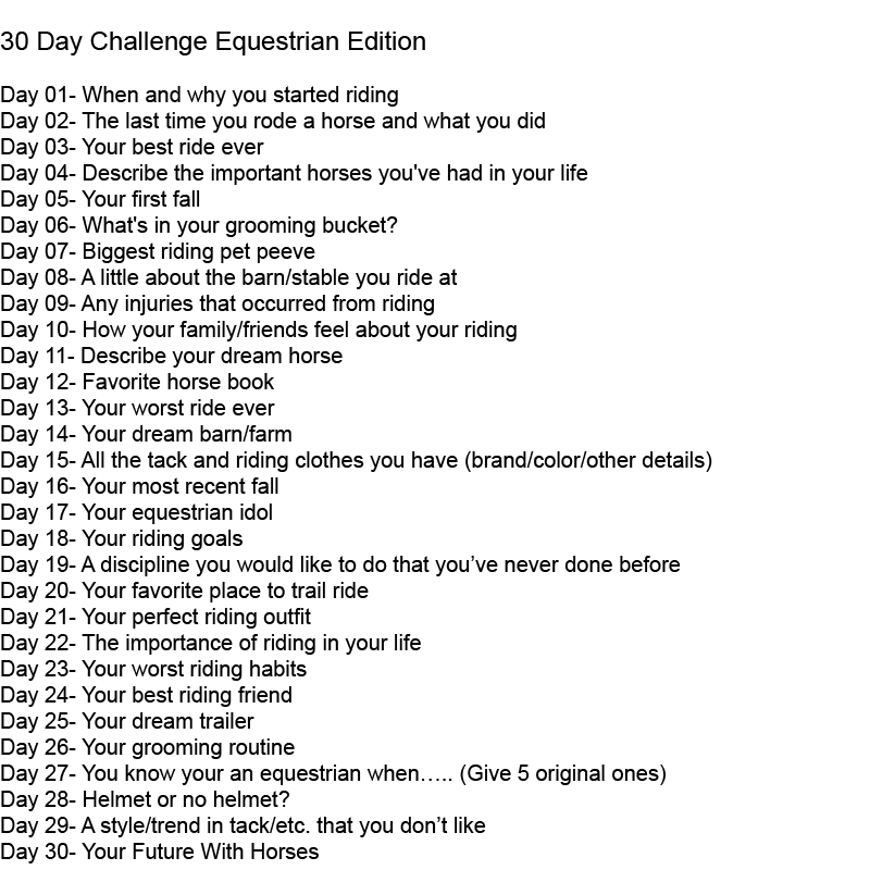 Roosas Horsey Life 30 Day Equestrian Challenge Day 1