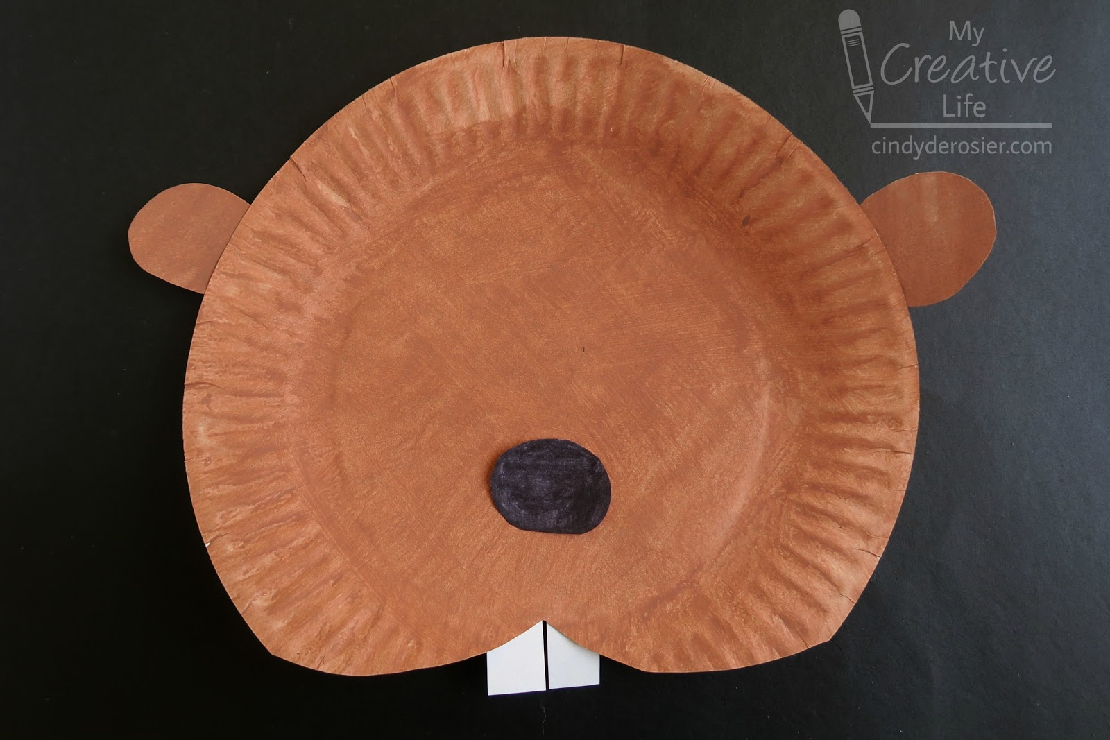 Glue the ears behind the paper plate at the 200 and 1000 positions. Glue the nose to the front of the plate slightly below center. & Cindy deRosier: My Creative Life: Paper Plate Beaver