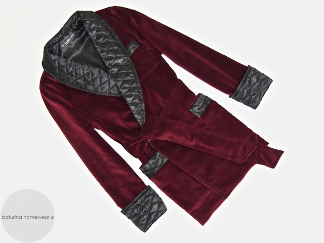 Mens red velvet smoking jacket dressing gown quilted silk robe