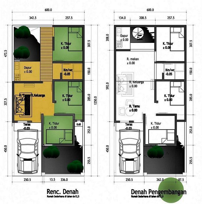denah rumah sederhana 6x9 2 lantai kreatif