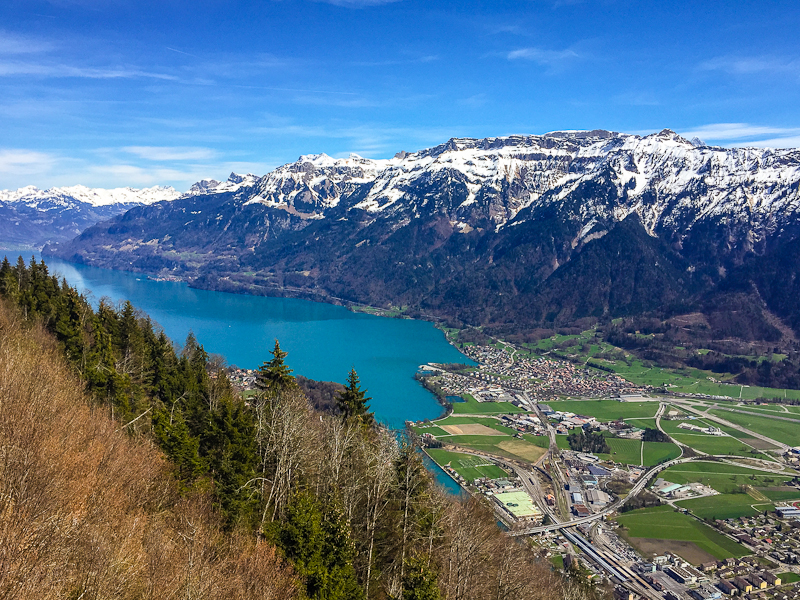 View of interlaken from the top of  Harder Klum in Switzerland