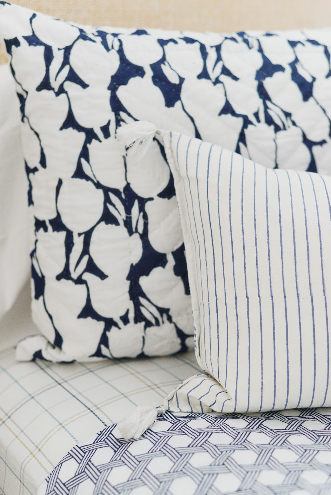 cottage bedroom, Serena & Lily bedding, Cortina quilt, striped and plaid bedding
