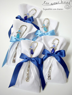 bomboniera tessuto lino segnalibro angelo blu battesimo