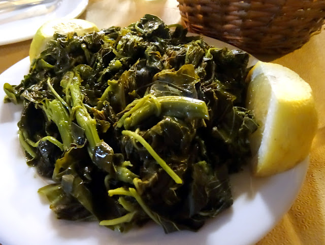 Greek spinach Amvrosios fish taverna in Preveza