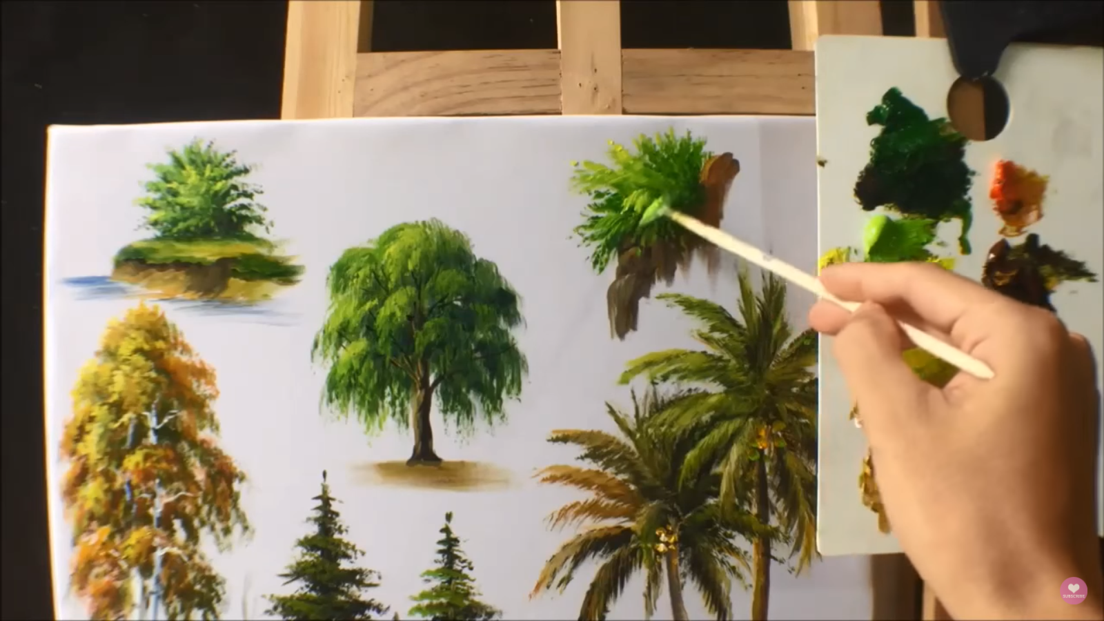 painting trees with a fan brush step by step acrylic - HD 1600×900